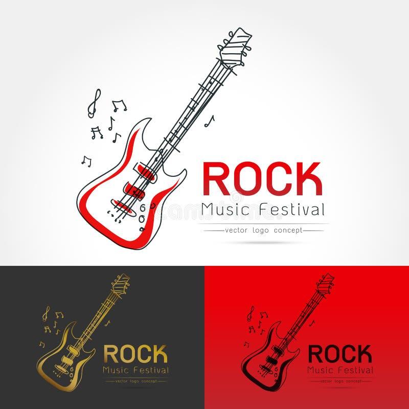 Vector del logotipo de la guitarra de la roca ilustración del vector