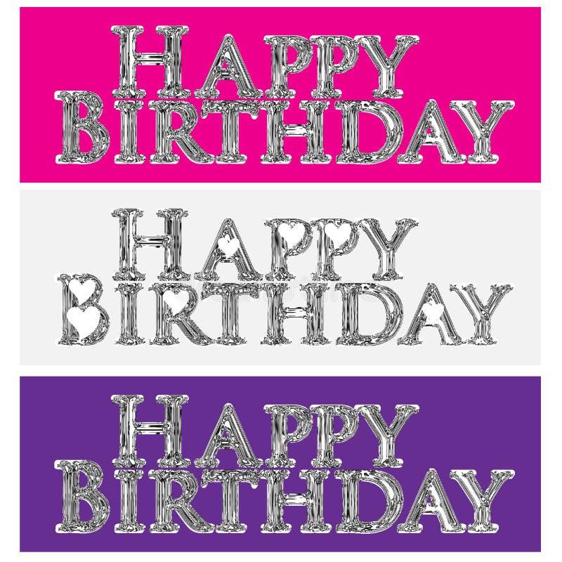 Vector del logotipo de la imagen de la etiqueta del símbolo de las palabras del brillo del feliz cumpleaños ilustración del vector