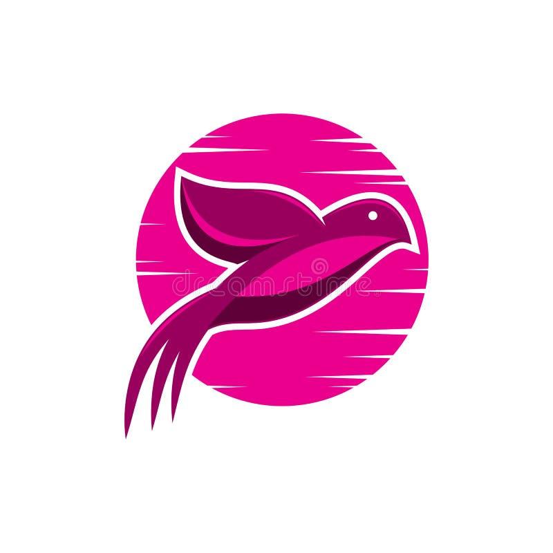 Vector del logotipo de la salida del sol del rosa del pájaro ilustración del vector