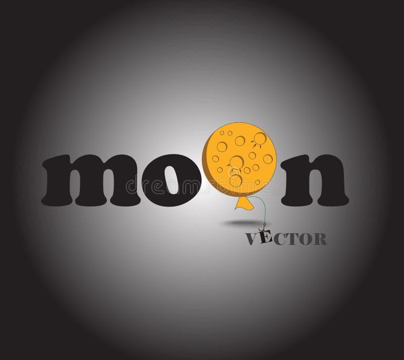 Vector del logotipo de las fuentes de la luna en fondo oscuro fotografía de archivo