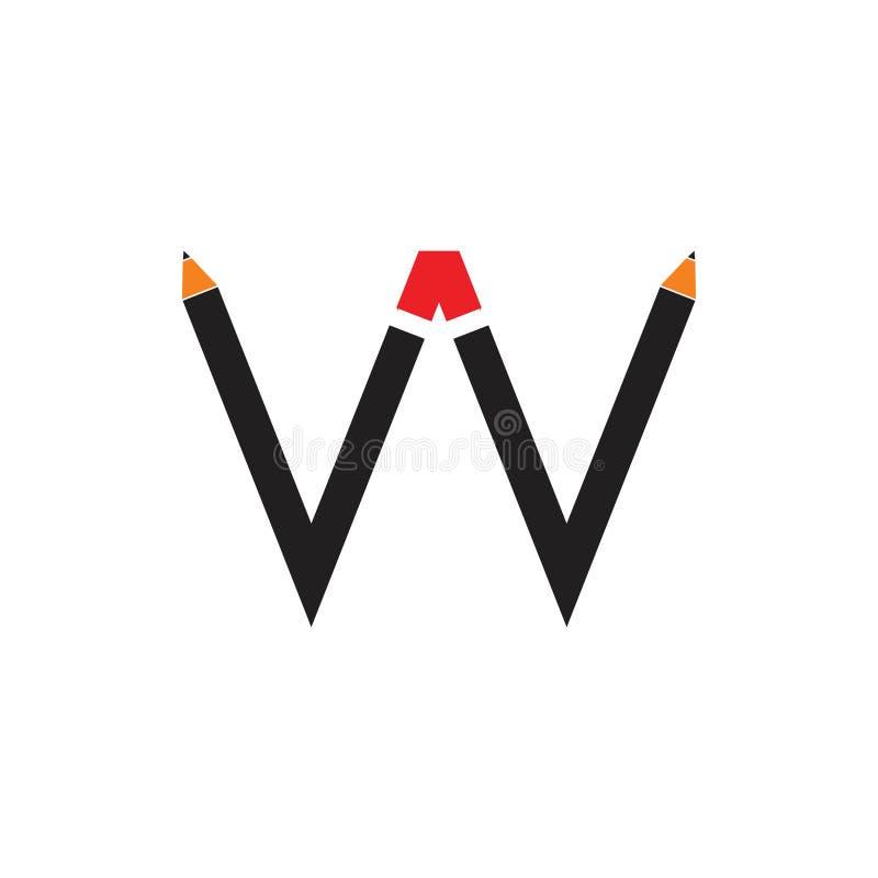 Vector del logotipo del dibujo de la forma del lápiz de la letra w stock de ilustración