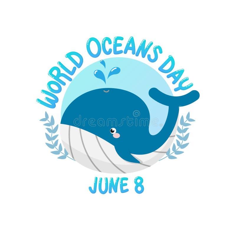 Vector del logotipo para el día del océano del mundo con agua del espray de la ballena en círculo día del océano del mundo el 8 d ilustración del vector