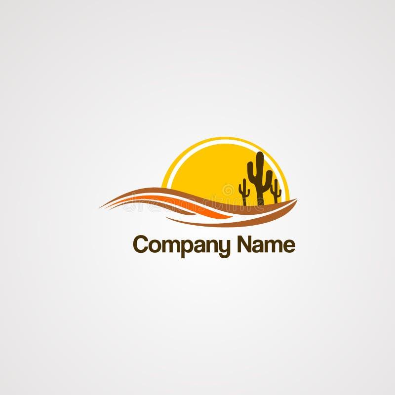 Vector del logotipo del sol de Arizona con tres cactus, elemento, plantilla para la compañía stock de ilustración