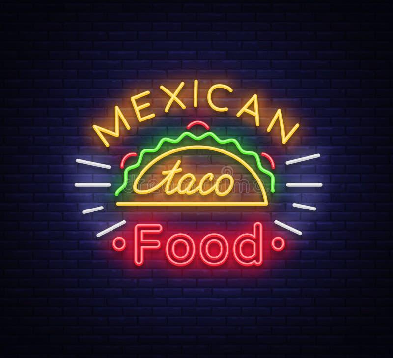 Vector del logotipo del taco Señal de neón en la comida mexicana, tacos, comida de la calle, alimentos de preparación rápida, boc stock de ilustración