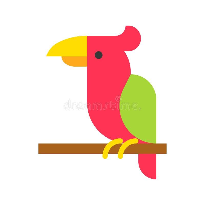 Vector del loro, icono plano relacionado tropical del estilo ilustración del vector