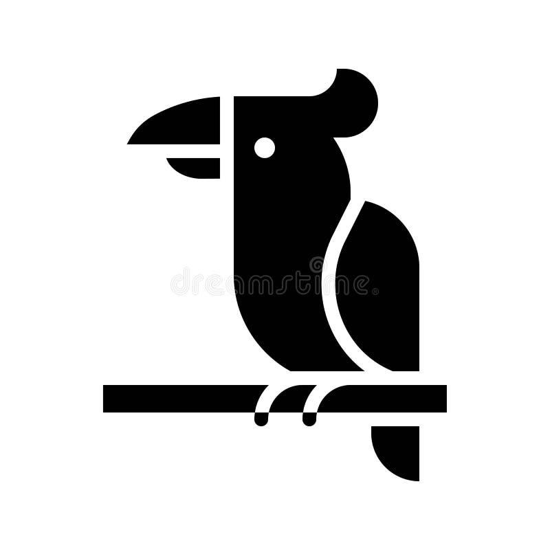 Vector del loro, icono sólido relacionado tropical del estilo ilustración del vector