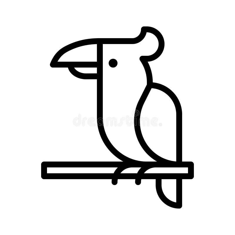 Vector del loro, línea relacionada tropical icono del estilo ilustración del vector