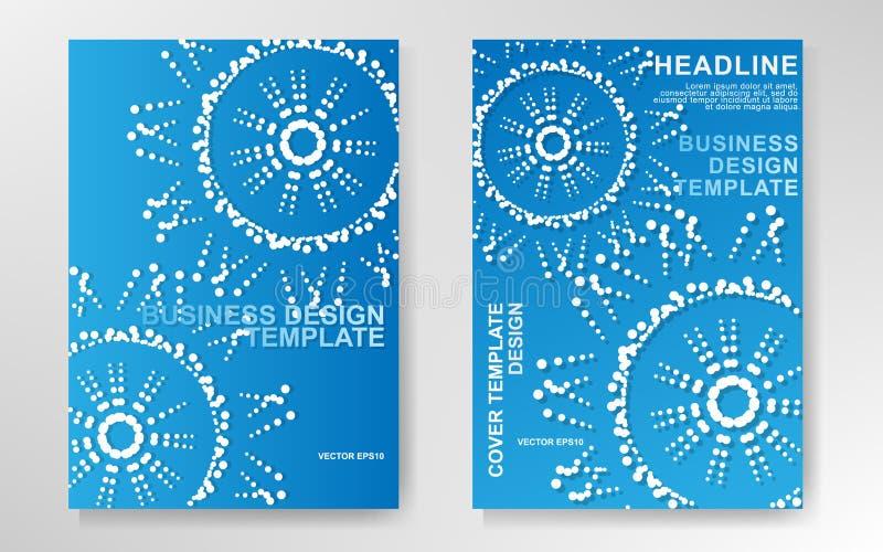 VECTOR DEL MÁRKETING: Azul con punteado alrededor del diseño para la presentación del negocio de la compañía ilustración del vector