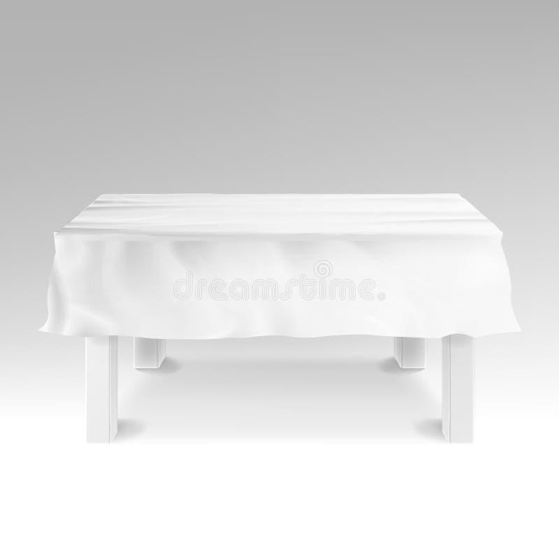 Vector del mantel Tabla rectangular vacía realista aislada en blanco libre illustration