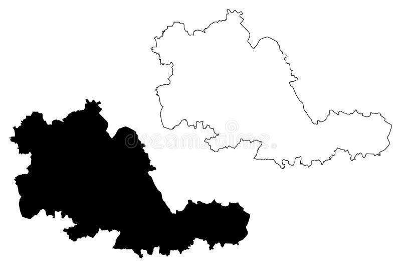 Vector del mapa del condado del West Midlands stock de ilustración