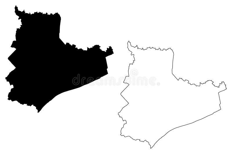 Vector del mapa de Bac Lieu Province stock de ilustración