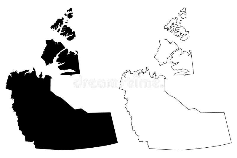 Vector del mapa de Canadá de los territorios del noroeste ilustración del vector