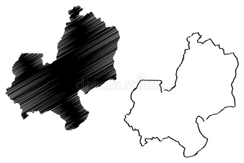 Vector del mapa de Edo State stock de ilustración