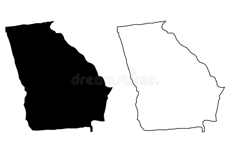 Vector del mapa de Georgia stock de ilustración