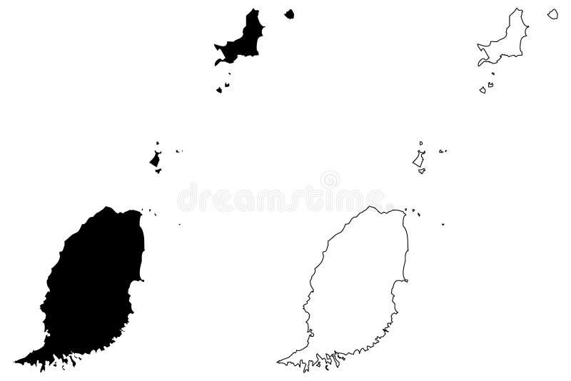 Vector del mapa de Grenada stock de ilustración