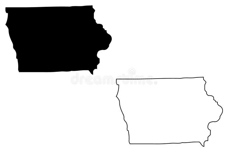 Vector del mapa de Iowa ilustración del vector