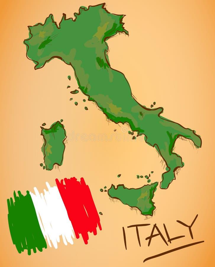 Vector del mapa de Italia y de la bandera nacional libre illustration
