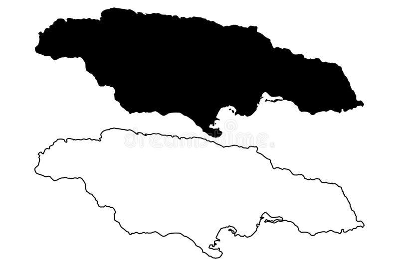 Vector del mapa de Jamaica stock de ilustración