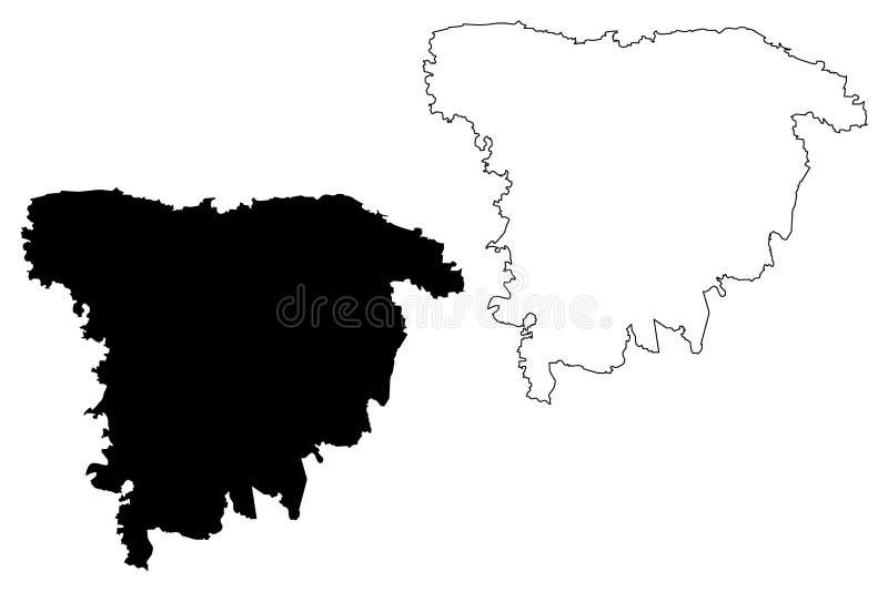 Vector del mapa de la división de Sylhet libre illustration