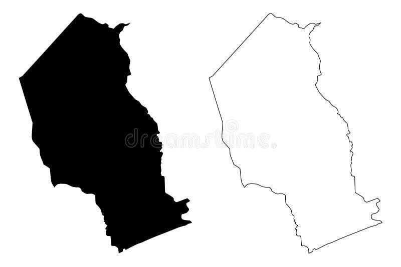 Vector del mapa de la provincia de Gaza stock de ilustración