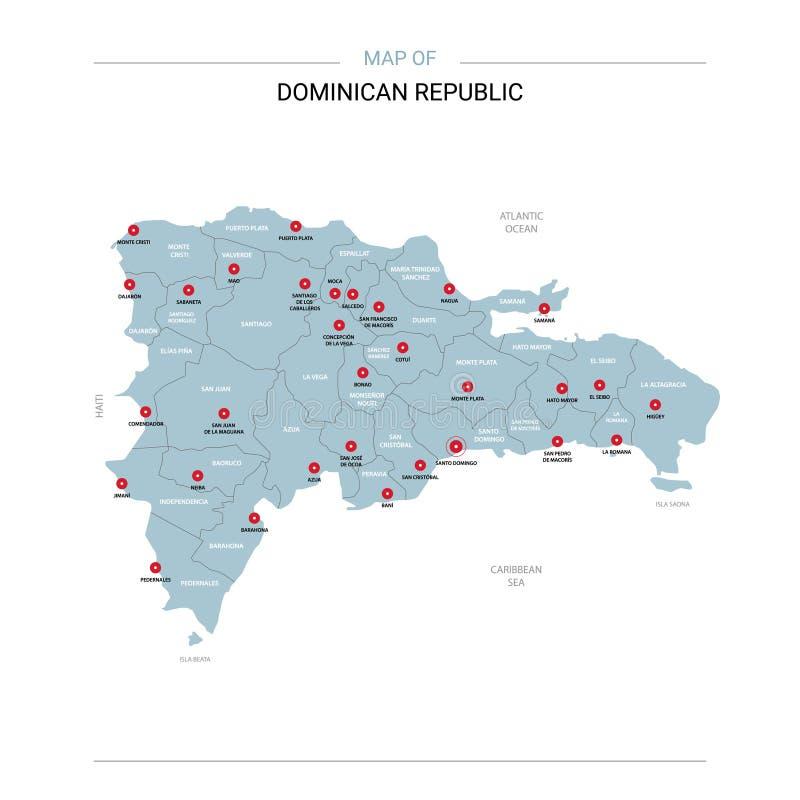Vector del mapa de la República Dominicana con el perno rojo ilustración del vector