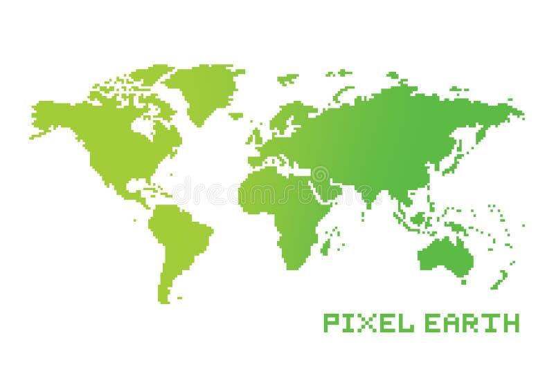 Vector del mapa de la tierra del estilo de la ubicación del juego del arte del pixel stock de ilustración