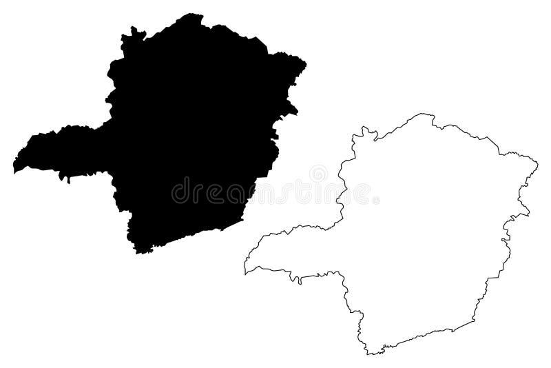 Vector del mapa de Minas Gerais ilustración del vector