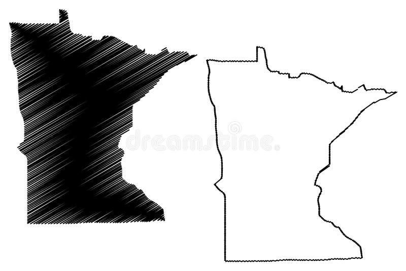 Vector del mapa de Minnesota stock de ilustración