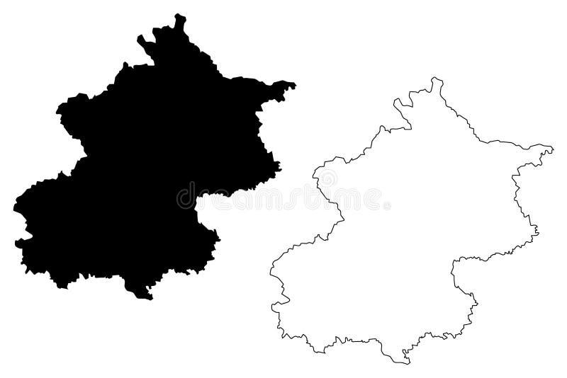 Vector del mapa de Pekín stock de ilustración
