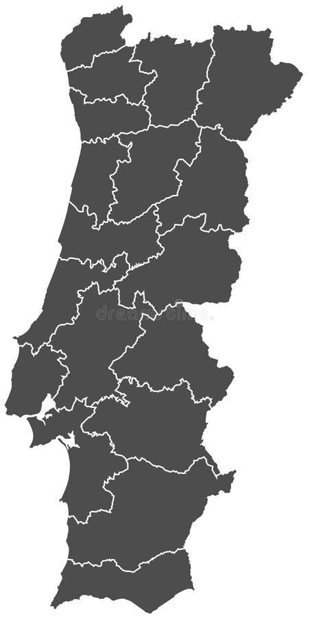 Vector del mapa de Portugal stock de ilustración