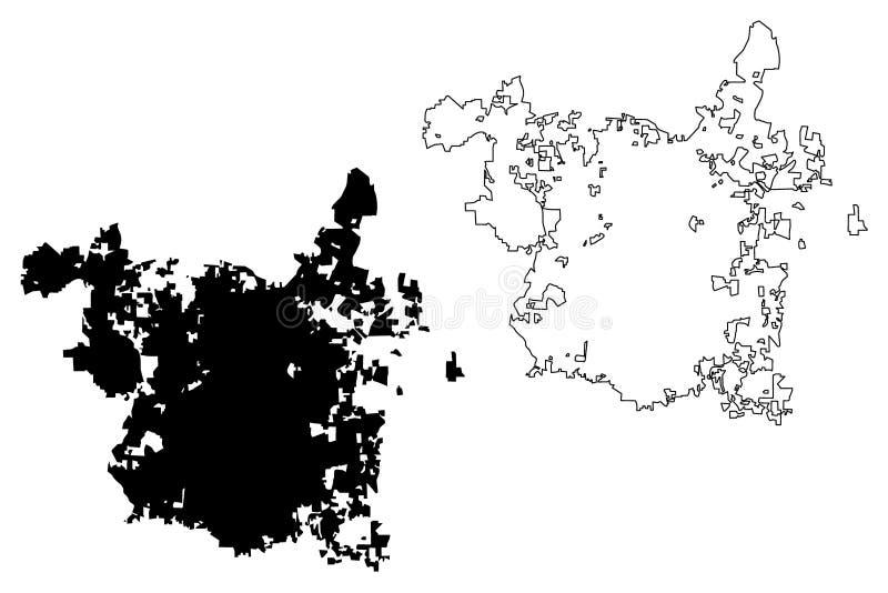 Vector del mapa de Raleigh City ilustración del vector