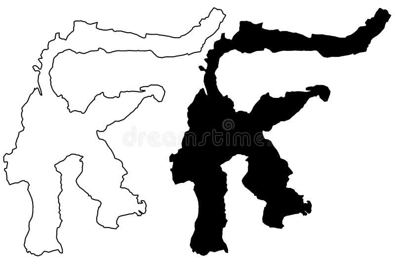 Vector del mapa de Sulawesi ilustración del vector