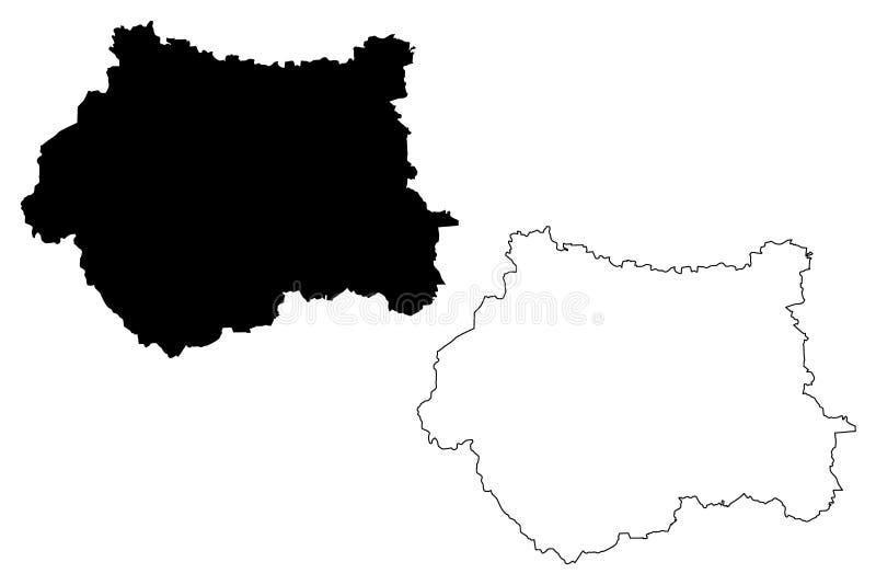 Vector del mapa de West Yorkshire ilustración del vector