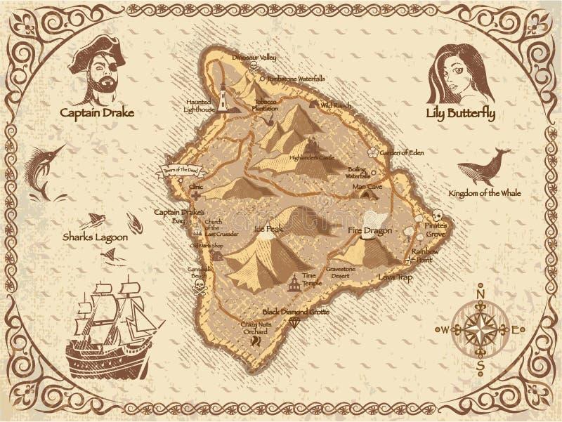 Vector del mapa del pirata ilustración del vector
