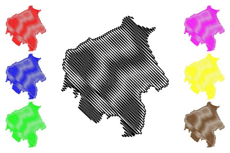 Vector del mapa del estado de Oyo ilustración del vector