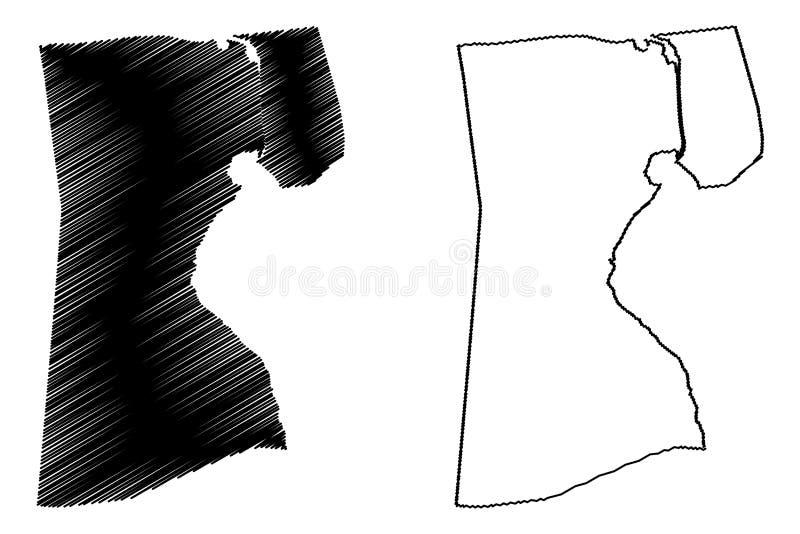 Vector del mapa del Governorate de Suez