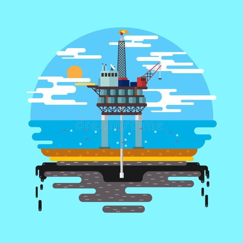 Vector del mar de la plataforma petrolera plano stock de ilustración