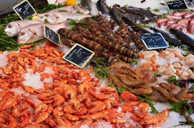 Vector del mercado con los camarones del anf de los pescados fotos de archivo libres de regalías