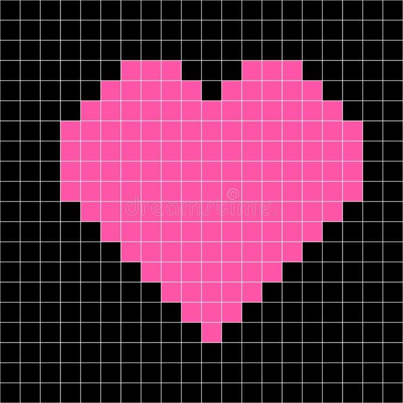 Vector del modelo del corazón del punto de cruz, corazón del rosa del mosaico stock de ilustración