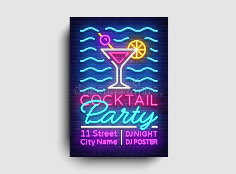 Vector del neón del cartel del cóctel Plantilla del diseño del partido del verano, folleto de neón brillante, diseño moderno de l libre illustration