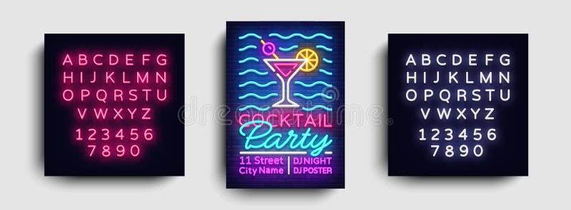 Vector del neón del cartel del cóctel Plantilla del diseño del partido del verano, folleto de neón brillante, diseño moderno de l stock de ilustración
