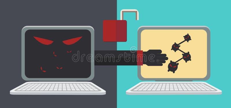 Vector del negro de la mano de la seguridad de la red de ordenadores stock de ilustración