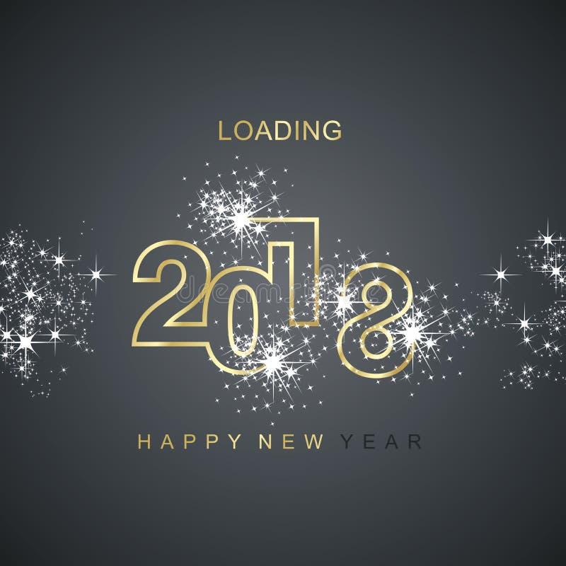 Vector 2018 del negro del oro del fuego artificial de la chispa del cargamento de la Feliz Año Nuevo libre illustration