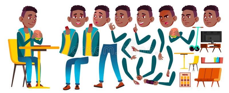 Vector del niño del colegial del muchacho negro Afroamericano Alto alumno Sistema de la creación de la animación Emociones de la  stock de ilustración