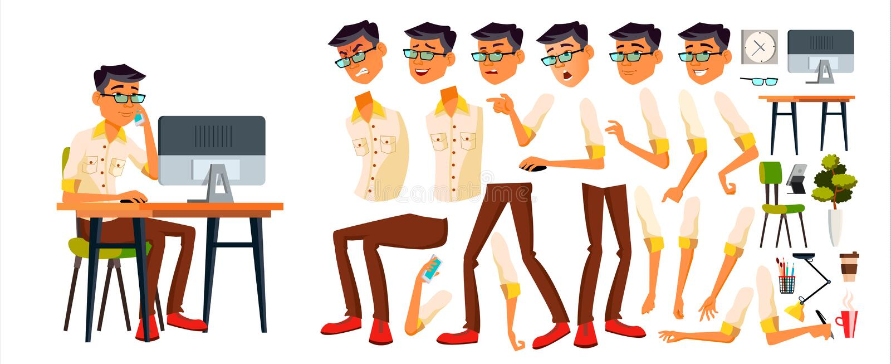 Vector del oficinista Coreano, tailandés, vietnamita Sistema de la creación de la animación Emociones de la cara, diversos gestos stock de ilustración