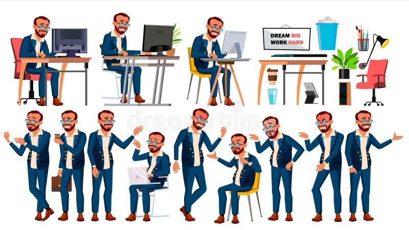 Vector del oficinista Emociones de la cara, diversos gestos En la acción Hombre de negocios Male turco Historieta aislada stock de ilustración