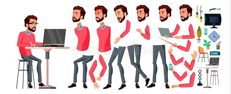 Vector del oficinista Emociones de la cara, diversos gestos Sistema de la creación de la animación Hombre de negocios Worker trab ilustración del vector