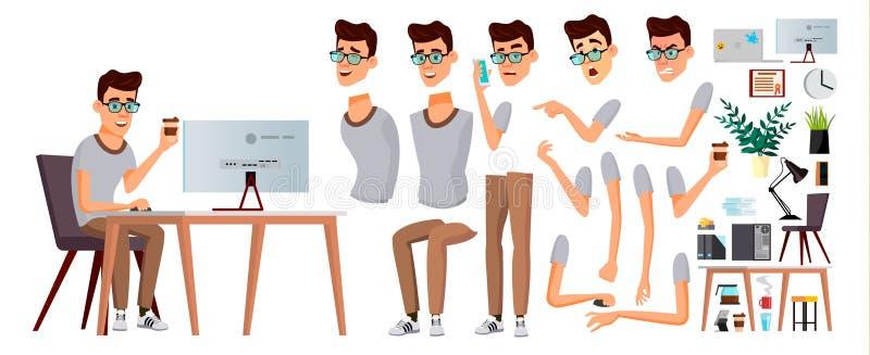 Vector del oficinista Emociones, gestos Sistema de la creación de la animación Persona del asunto carrera Empleado moderno, traba stock de ilustración