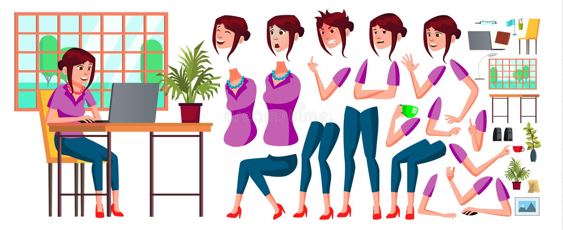 Vector del oficinista Mujer Vendedor feliz, criado, empleado Ser humano del negocio Emociones de la cara, diversos gestos animaci stock de ilustración