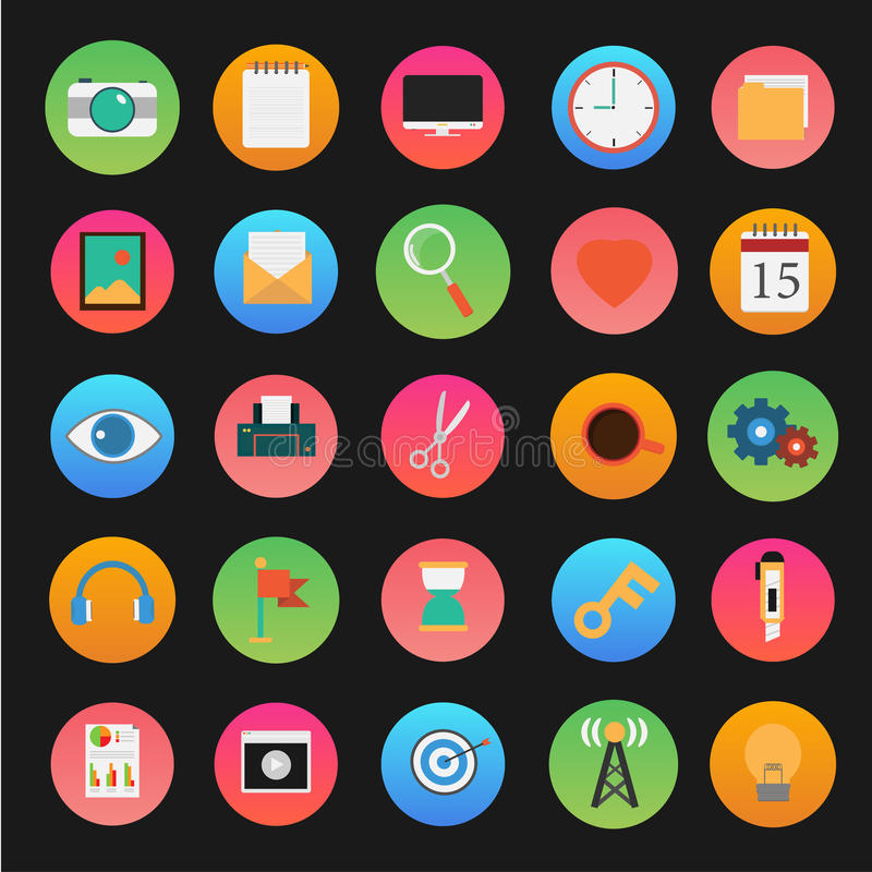 Vector del ordenador y del sistema del icono del uso stock de ilustración